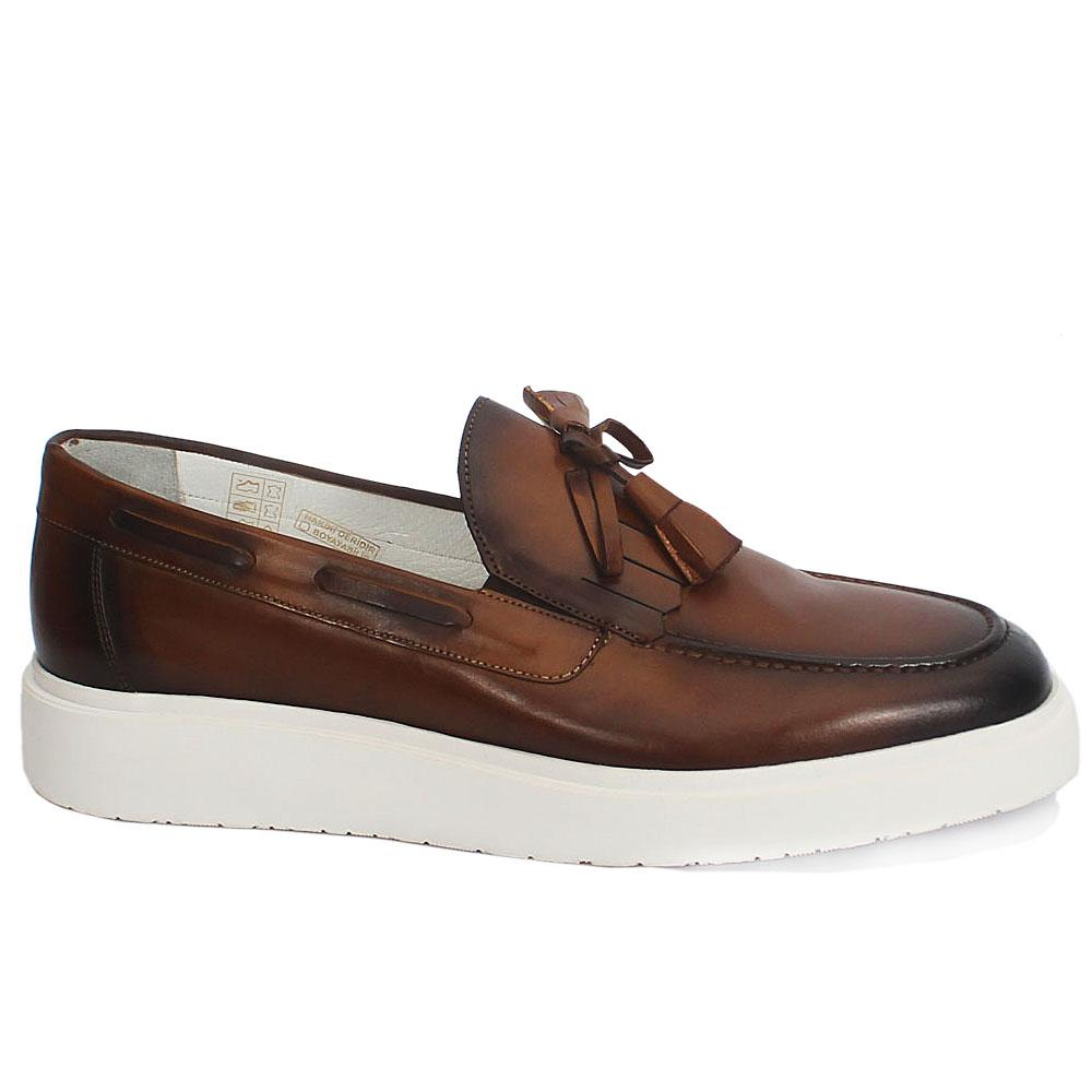 Sabatini Coffee Leather Slipon Shoe