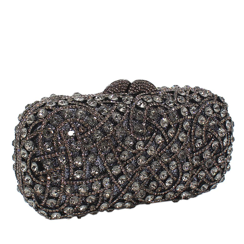 Black Shimmering Diamante Crystals Clutch Purse