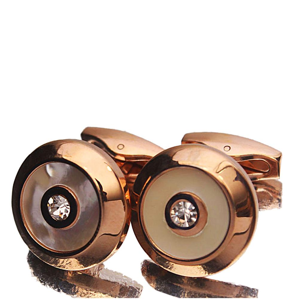 Rose Gold Classic White Diamond stud Stainless Steel Cufflinks