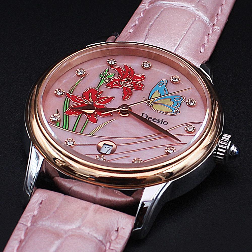 Cinderella-Pink-Leather-Water-Resistant-Ladies-Watch