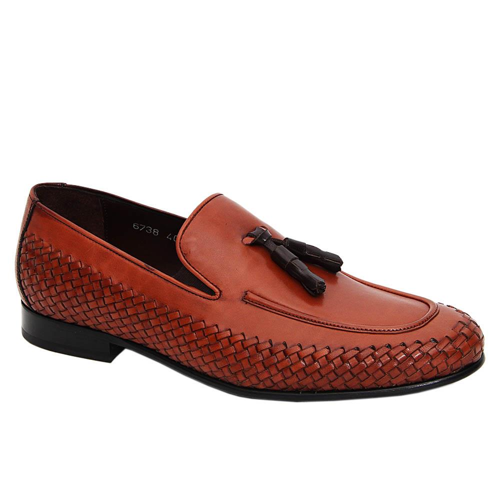 Brown Guerrero Woven Italian Leather Tassel Loafers