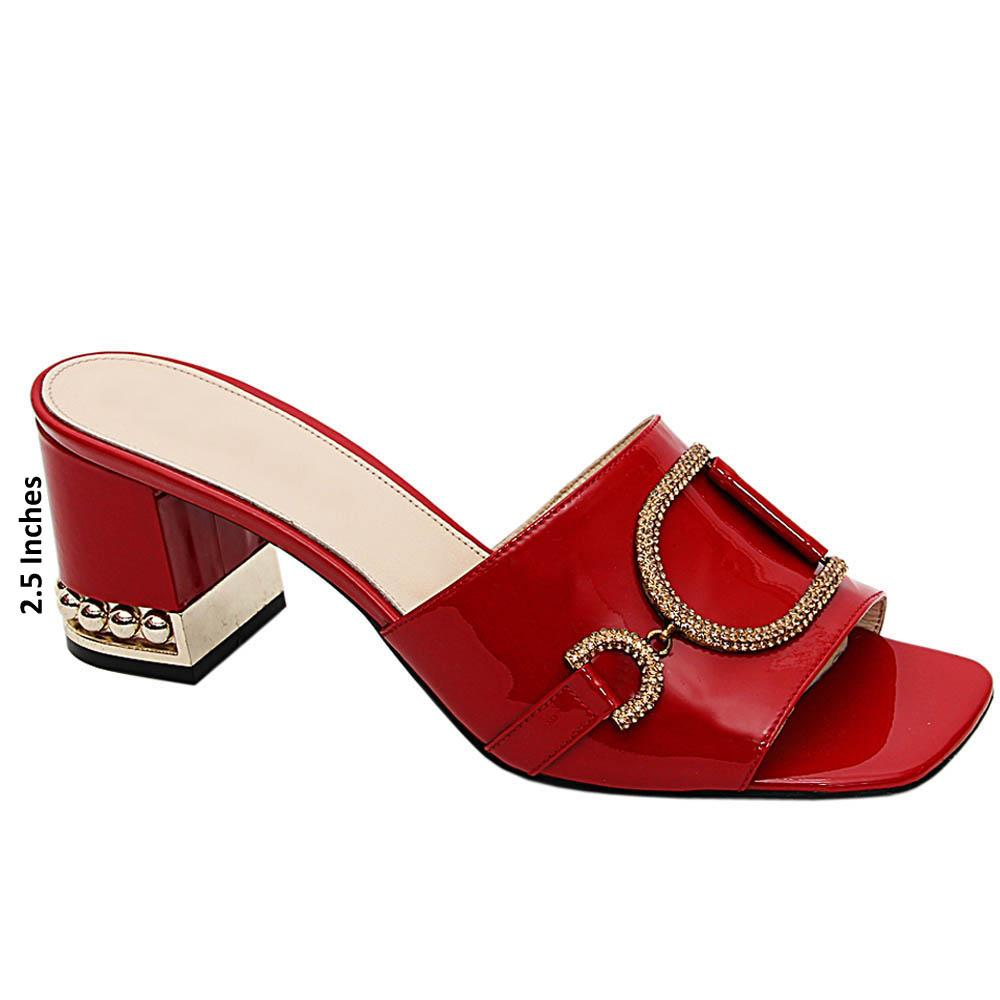 Red Sofia Patent Italian Leather Mid Heels Mule