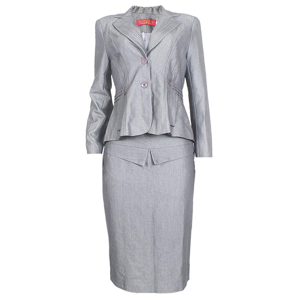 Unique Dark Gray Cotton Bow Design Ladies Complete Suit Skirt Sz 44