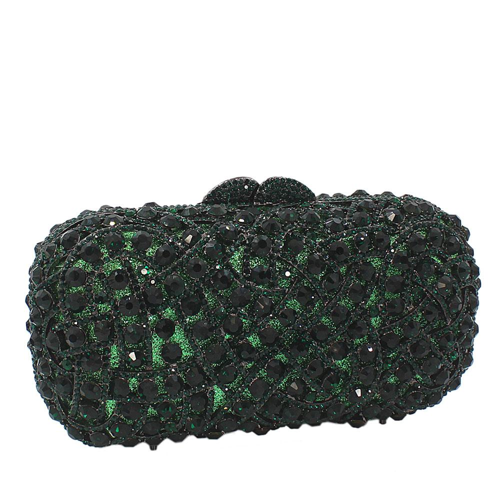 Green Diamante Crystals Clutch Purse