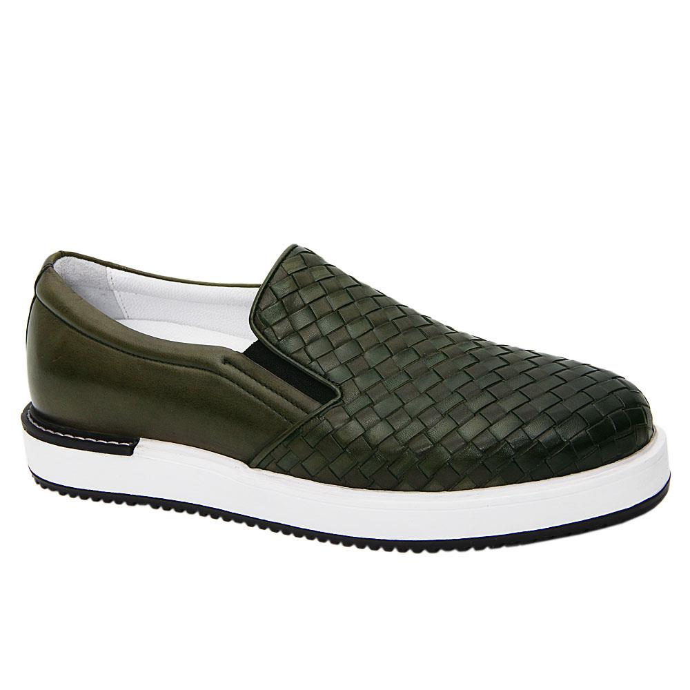 Army Green Gregory Woven Italian Leather Slip-On Sneakers