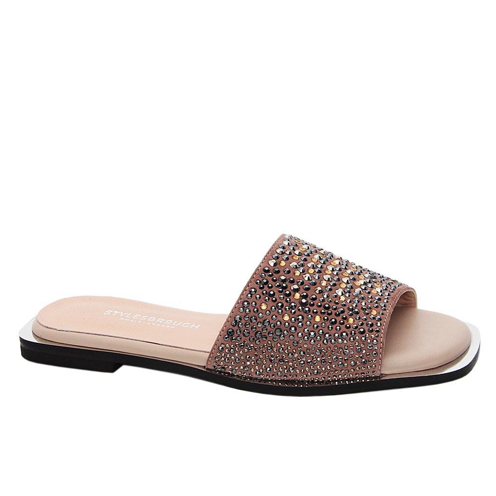 Beige Jasmine Studded Tuscany Leather Women Flat Slippers