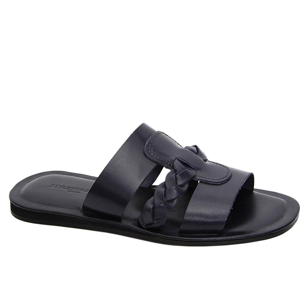 Navy Fernando Italian Leather Slippers