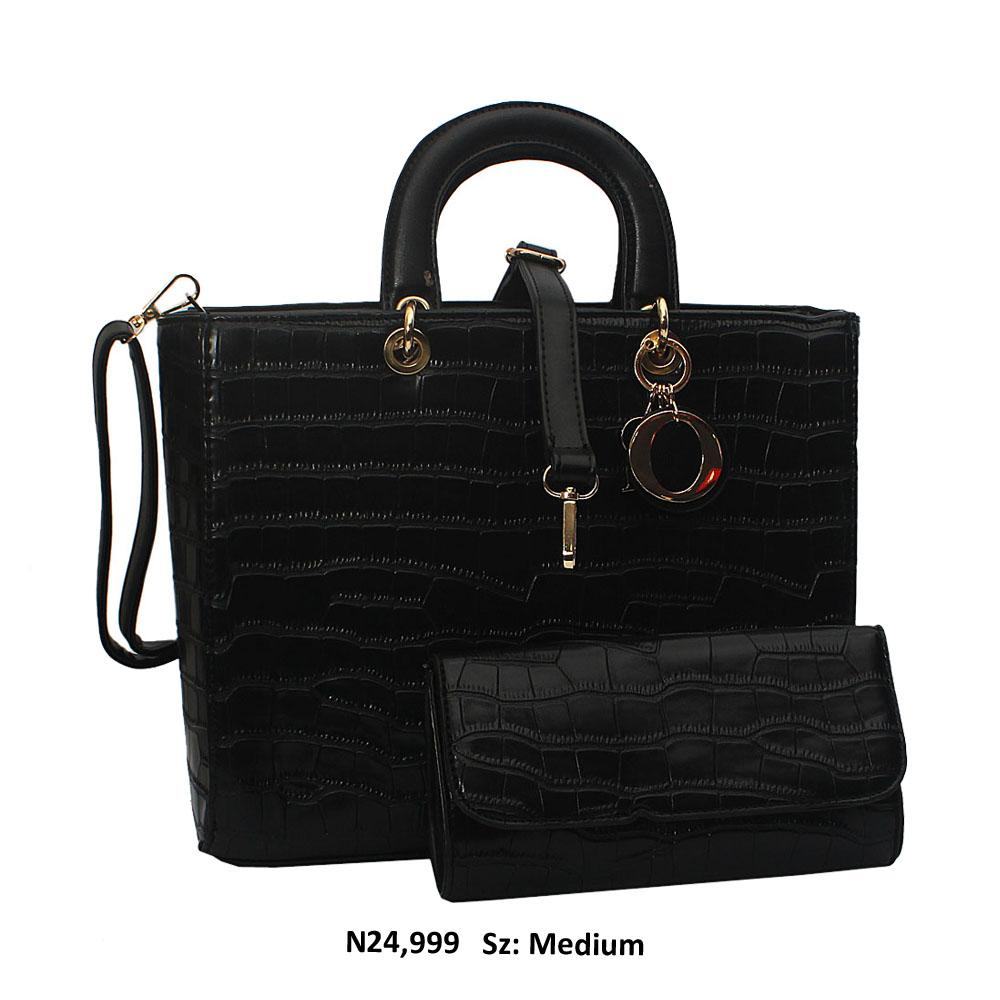 Black Dolce Croc Style Leather Tote Handbag