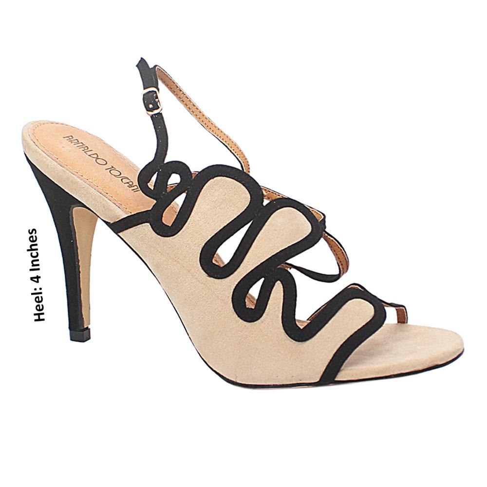 Beige Black Liliana Suede Leather Heel Sandals