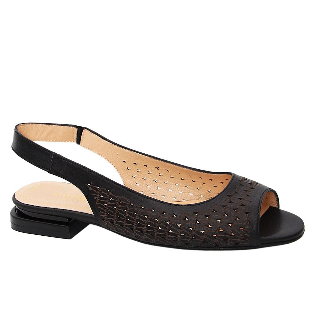 Black Marcella Tuscany Leather Low Heel Sandals
