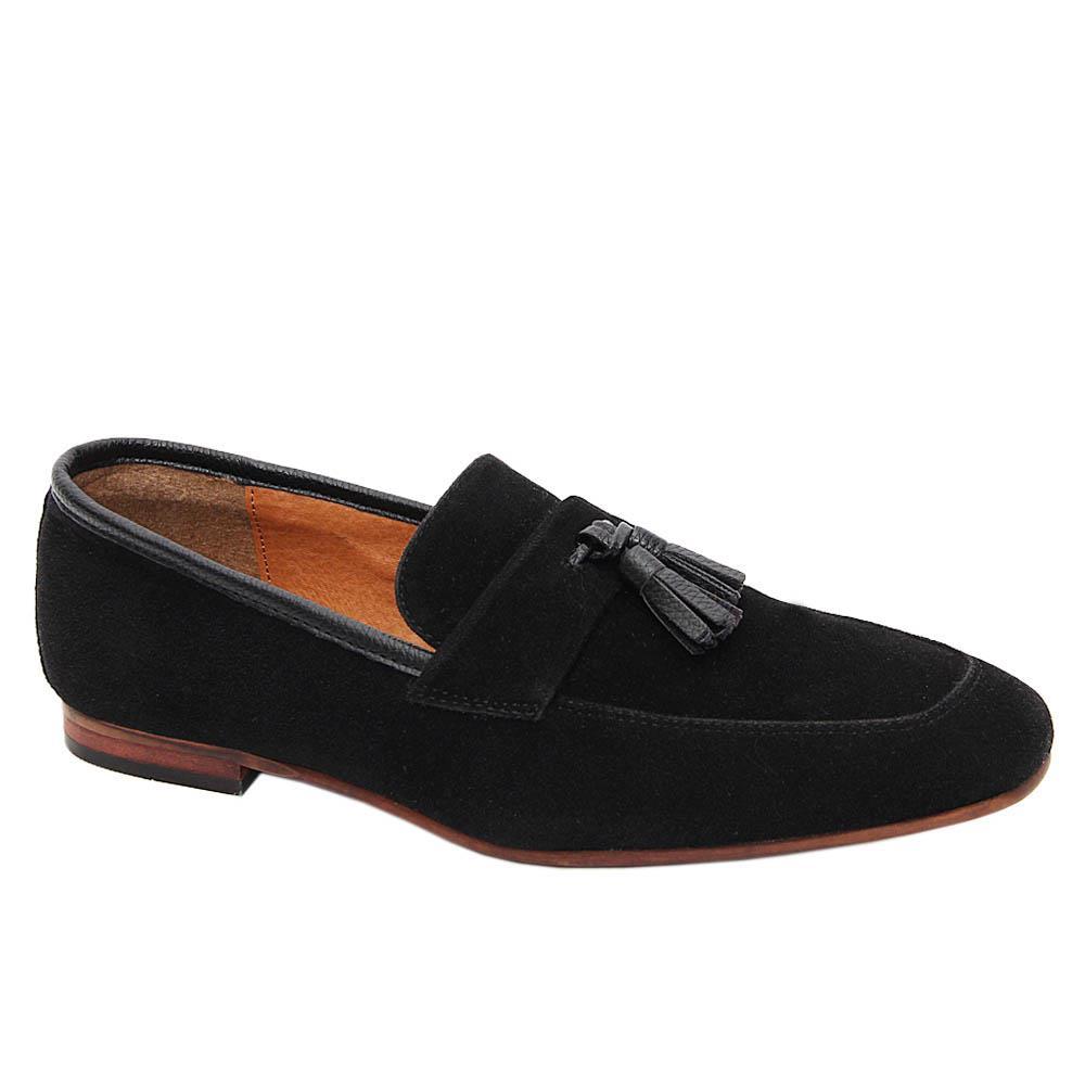 K Geiger Black Dexter Suede Leather Tassel Loafers