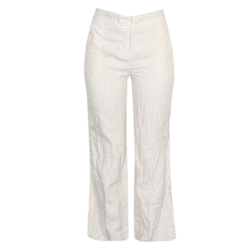 M & S Per Una Cream Linen Ladies Wide Leg Trousers -UK Sz 8w 38.5in