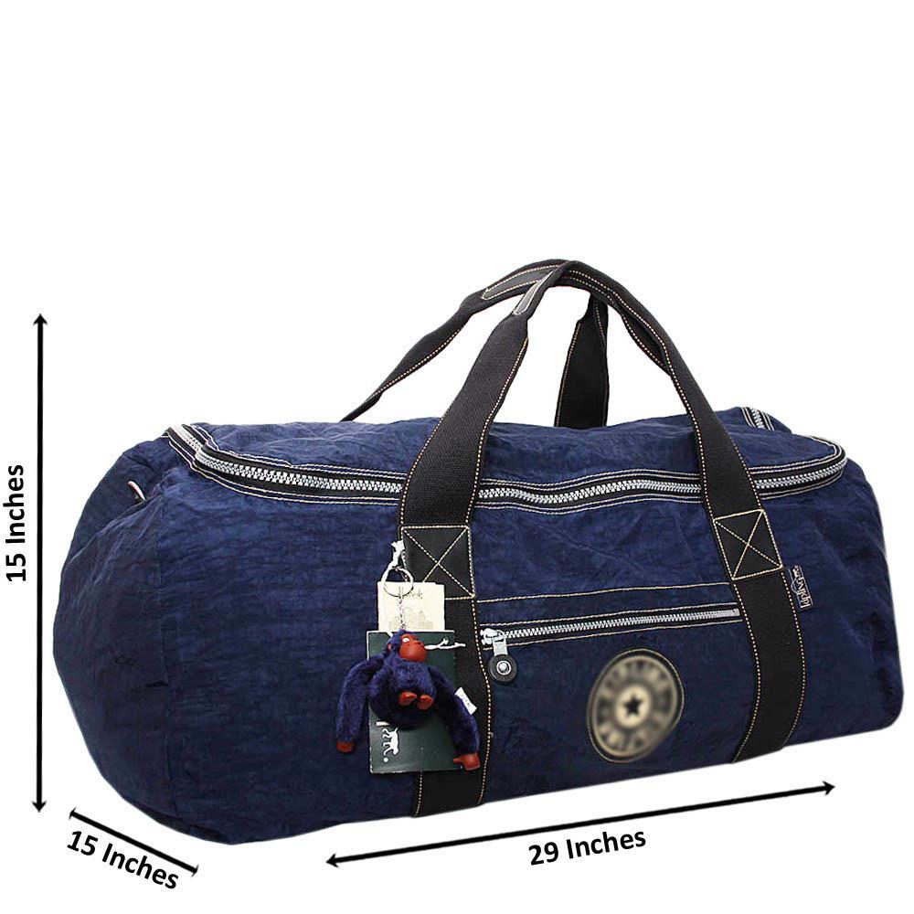 Navy Jasper Fabric Large Duffle Bag