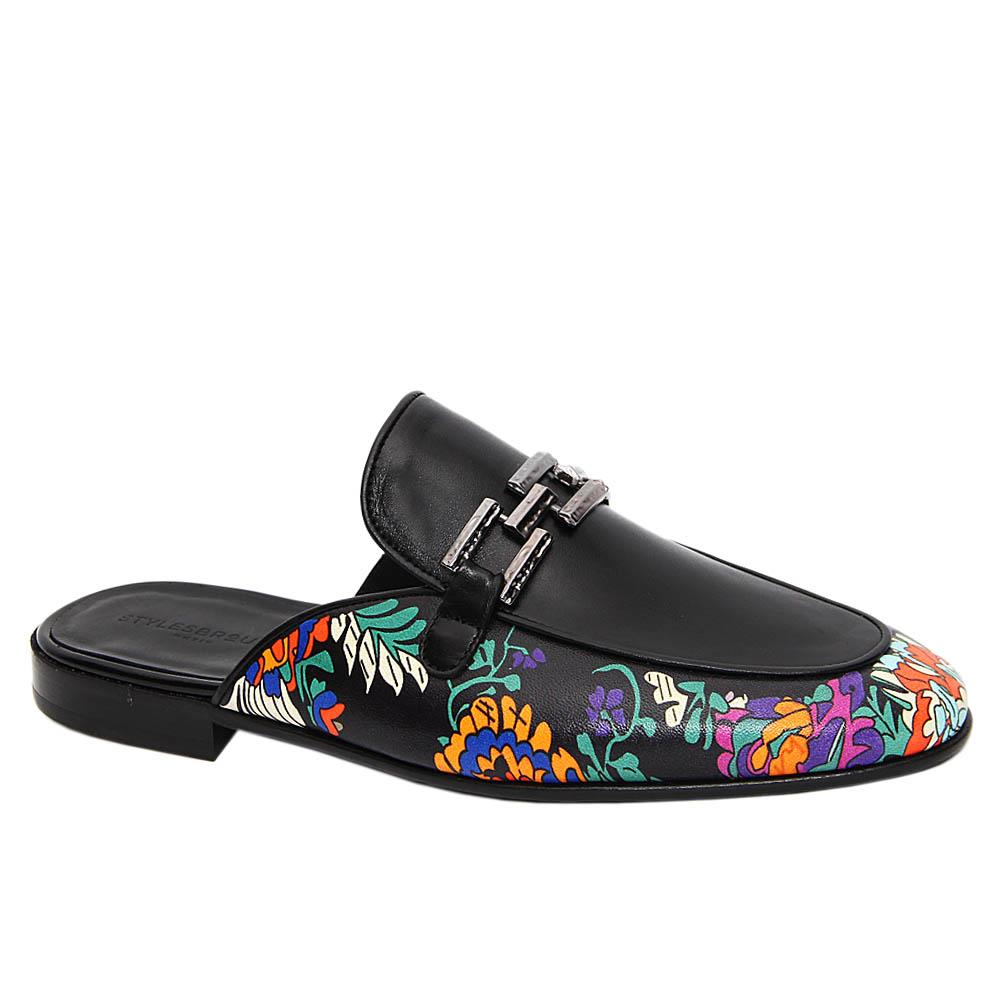 Black Barry Graphic Print Italian Leather Half Shoe