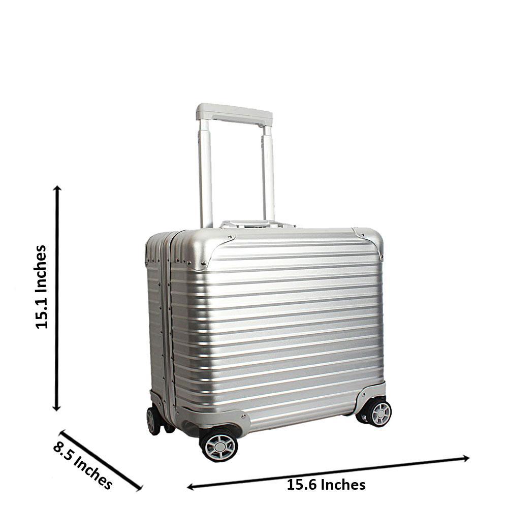 Silver 16 Inch Aluminium Pilot Suitcase Wt TSA Lock