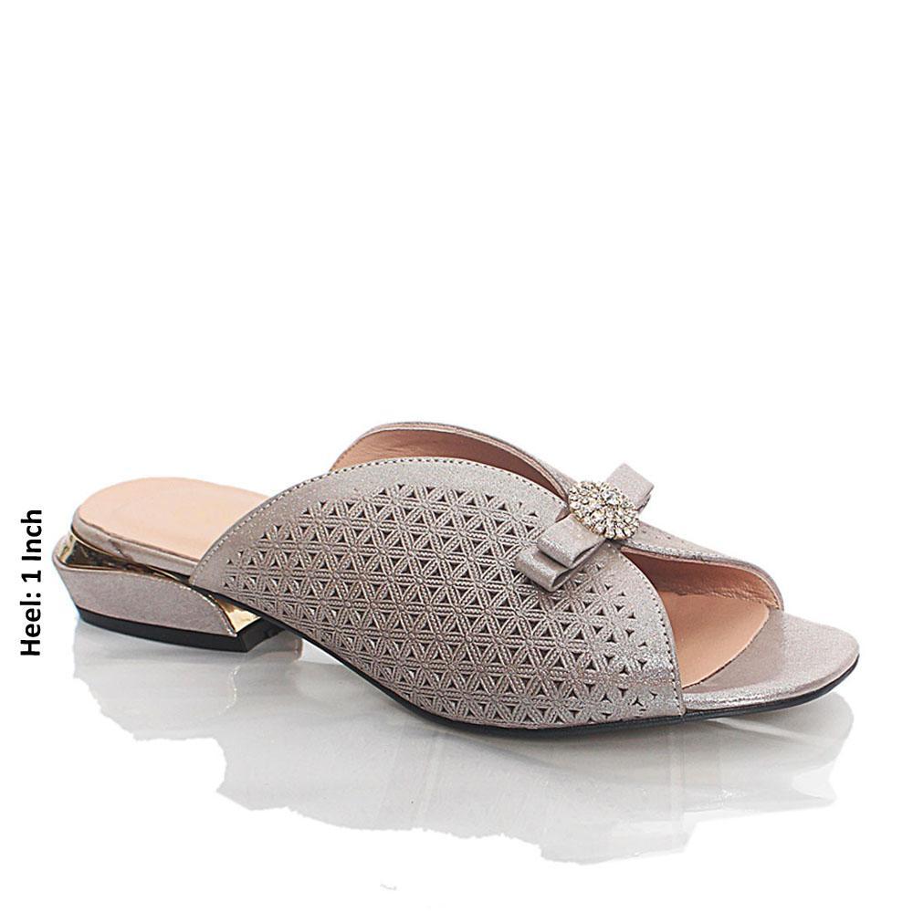 Gray Ritmo Shiny Italian Leather Low Heel Mule