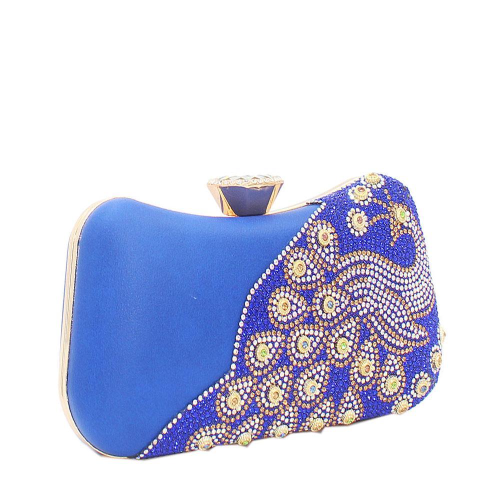 Royal Blue Ariel Evoke Studded Leather Clutch Purse