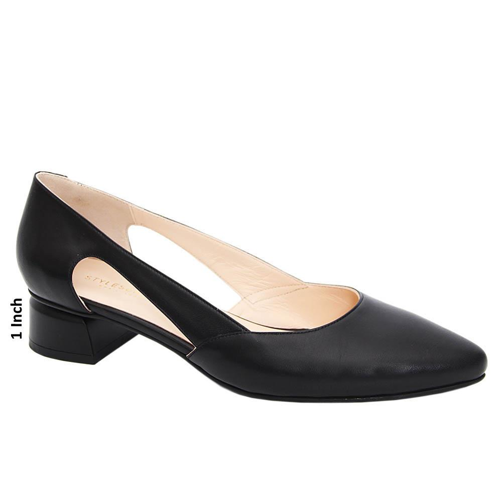 Black Leticia Cut-Out Tuscany Leather Low Heel Pumps