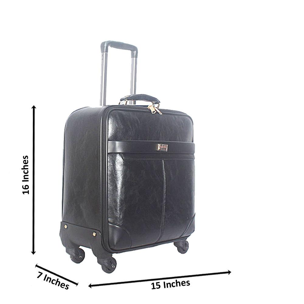 Black Smooth 16 Inch Leather Pilot Suitcase Wt Lock