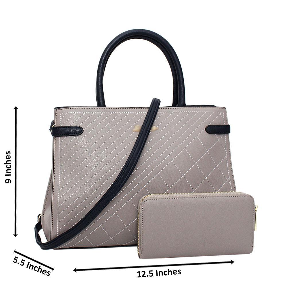 Gray Navy Electra Leather Medium Tote Handbag