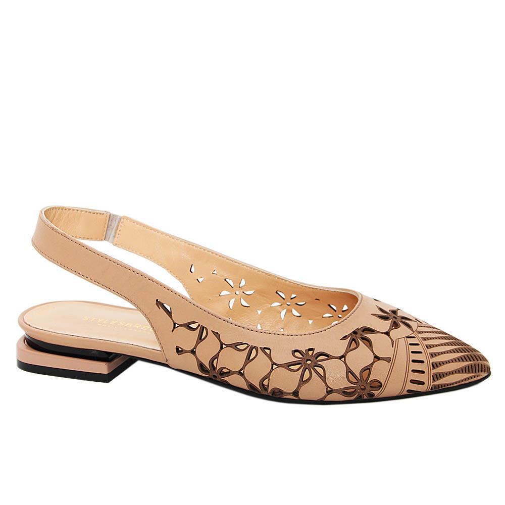 Beige Josefina Tuscany Leather Low Heel Slingback Pumps