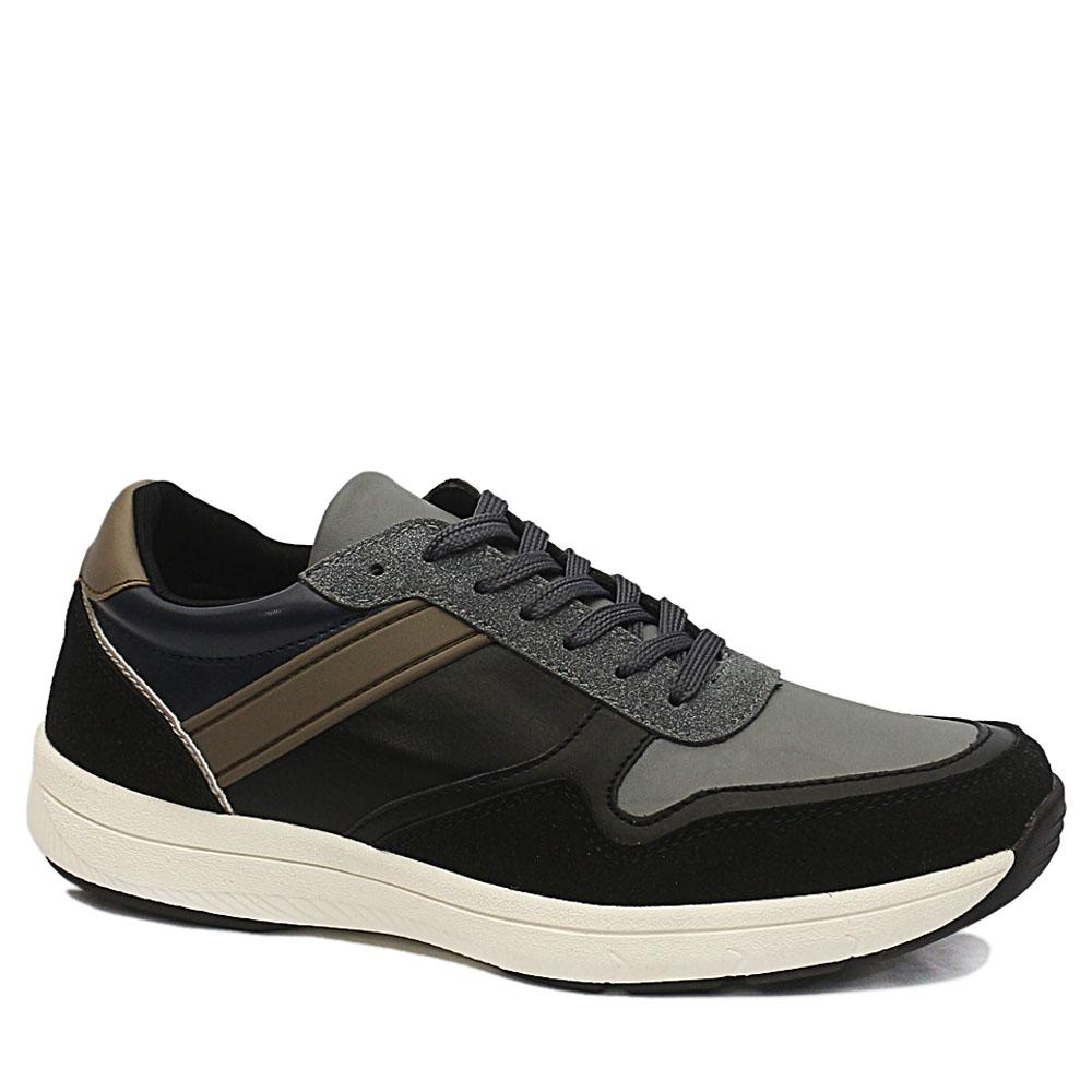 Sz 41 DDM Black Derek Mix Suede Leather Sneakers