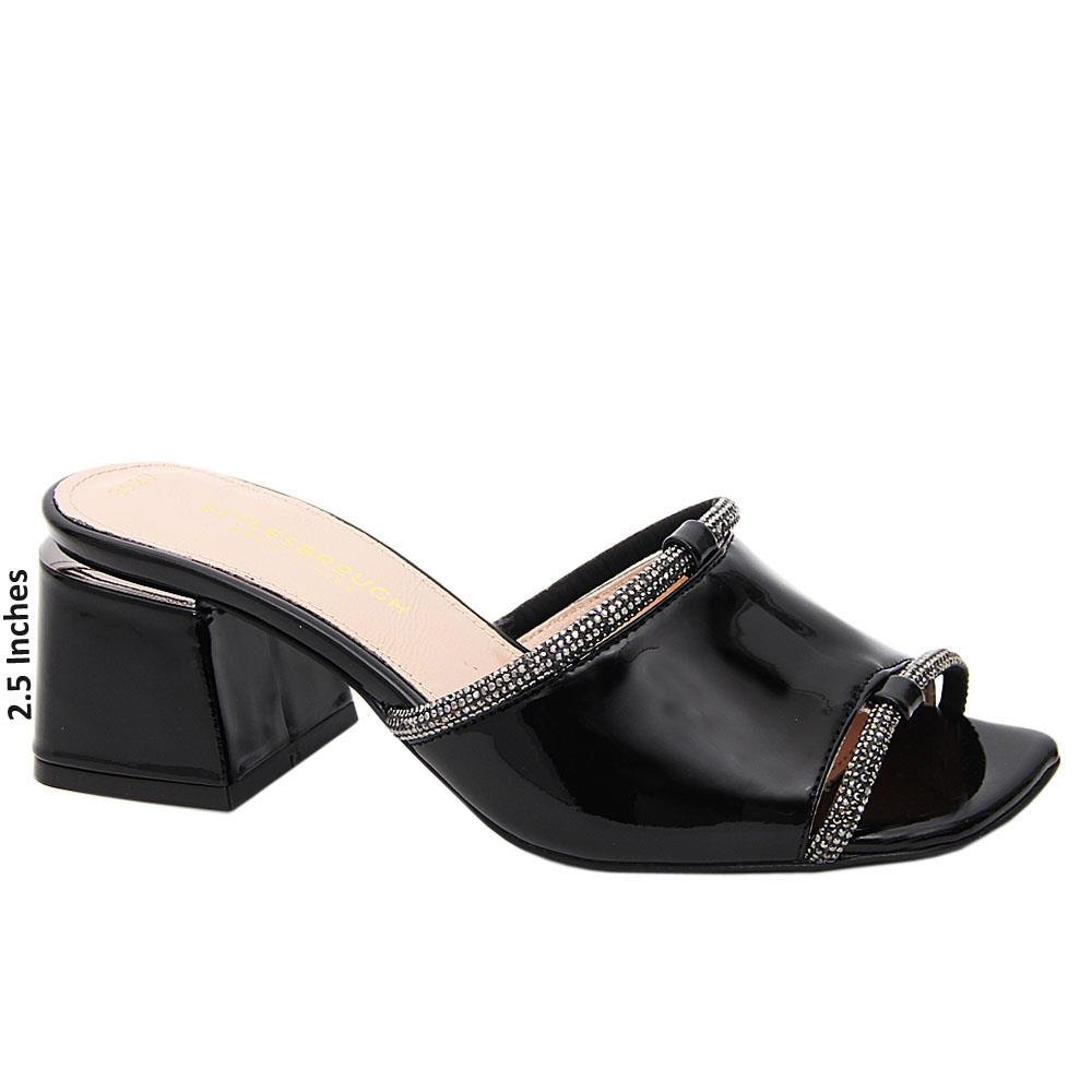 Black Ivory Patent Tuscany Leather Mid Heel Mule