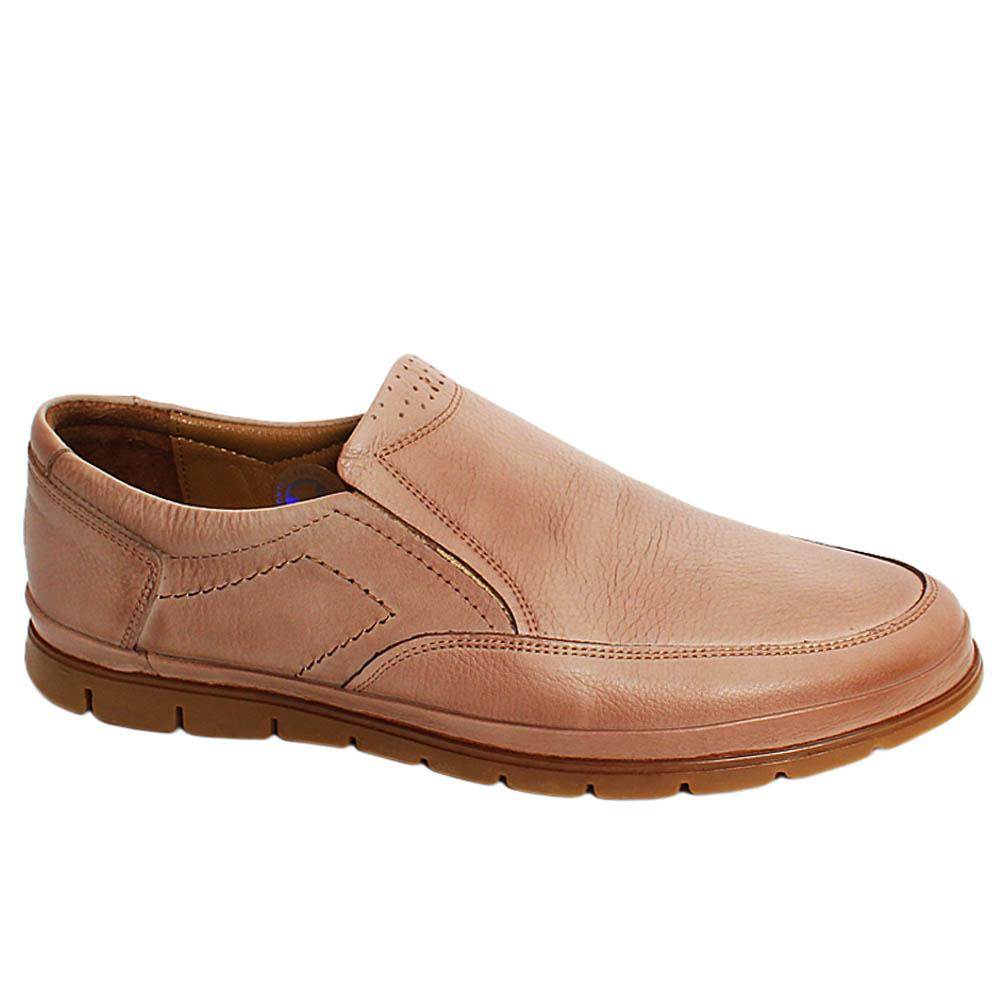 Beige Liam Leather Men Slipons
