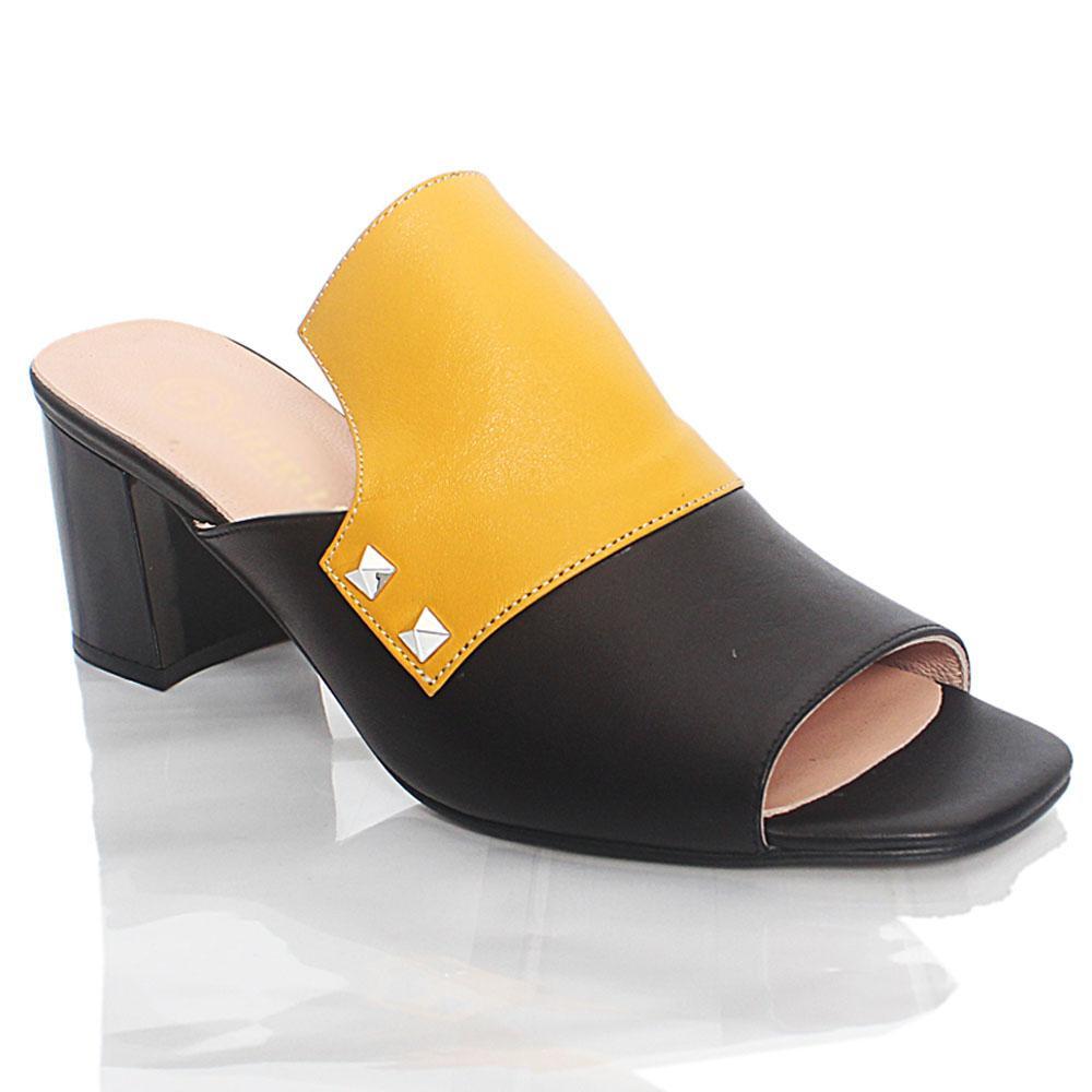 Black Yellow ViaRo Italian Leather Mule Slippers