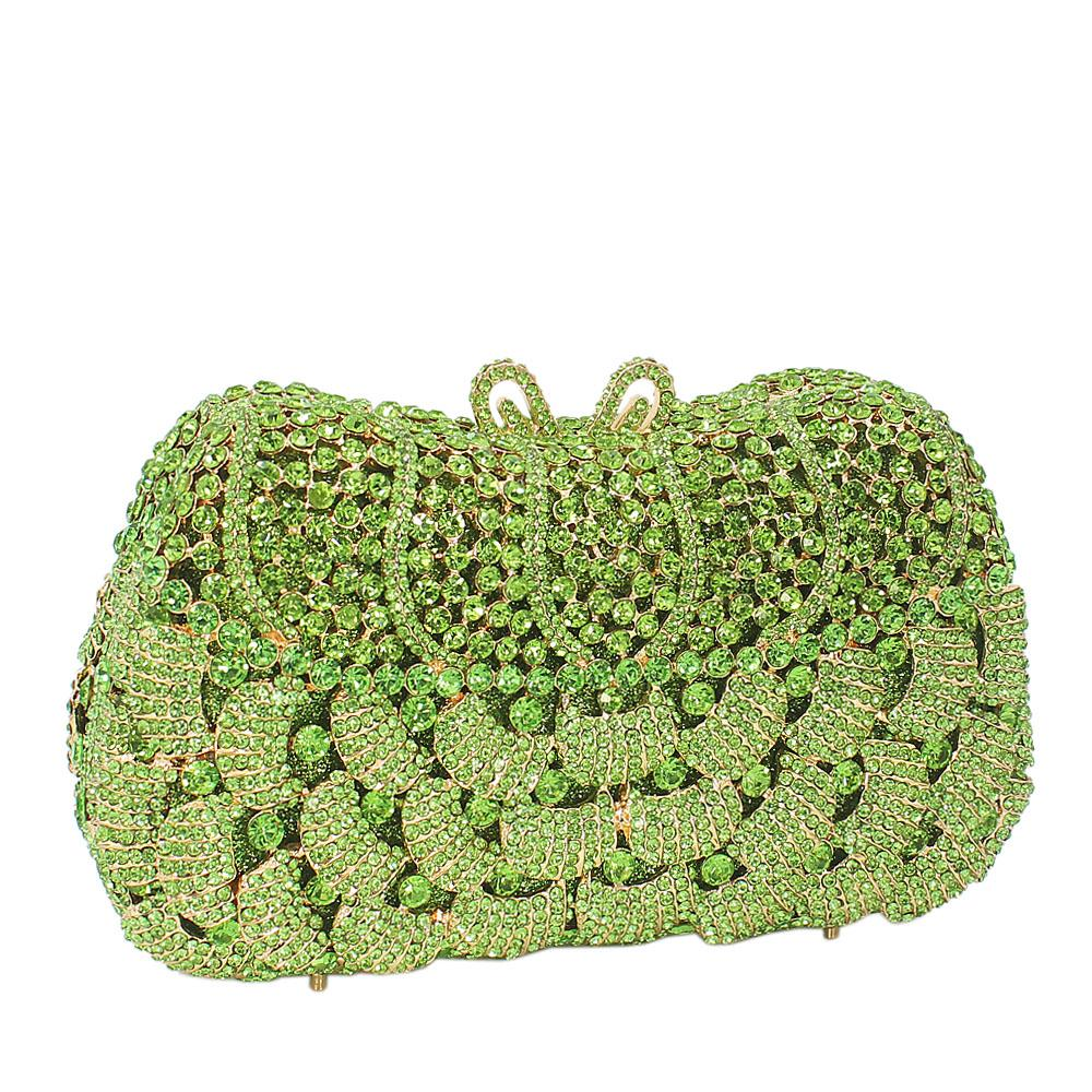 Lemon Green Diamante Crystals Clutch Purse