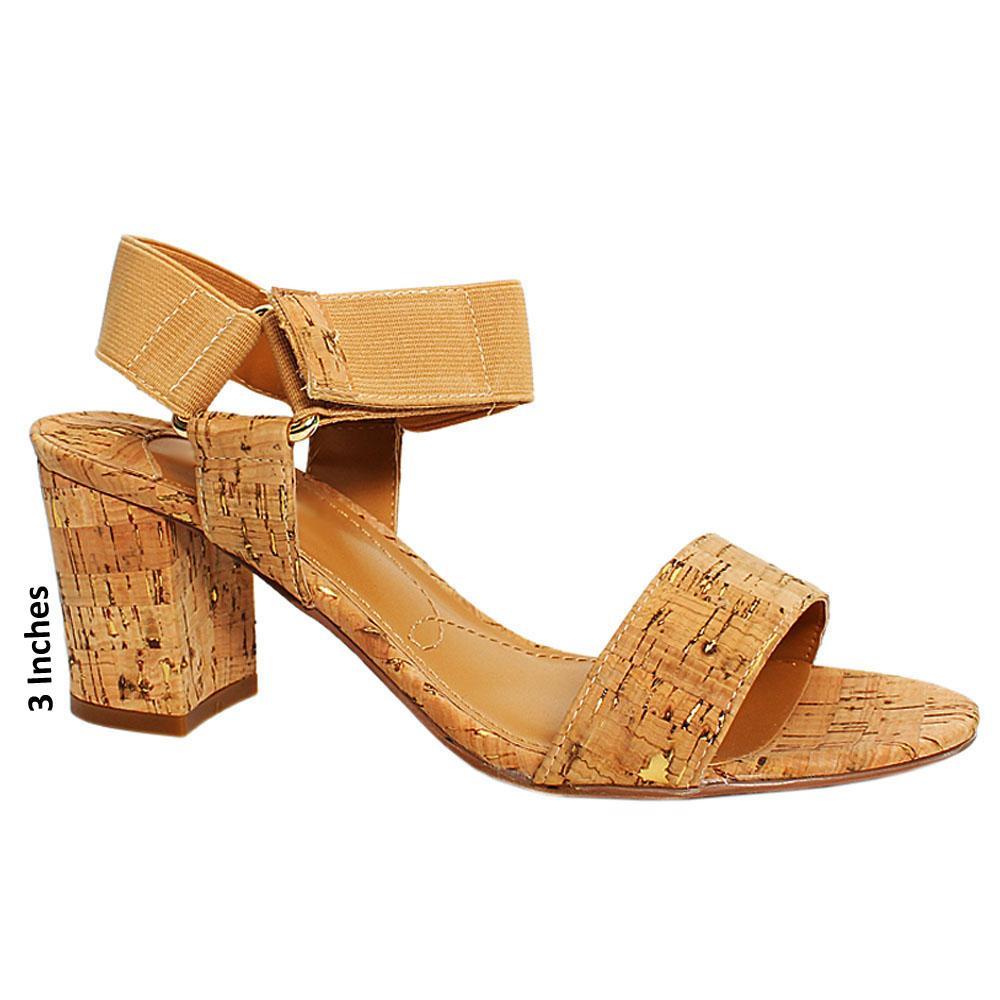 Brown Treasure Leather Elastic Strap Heel