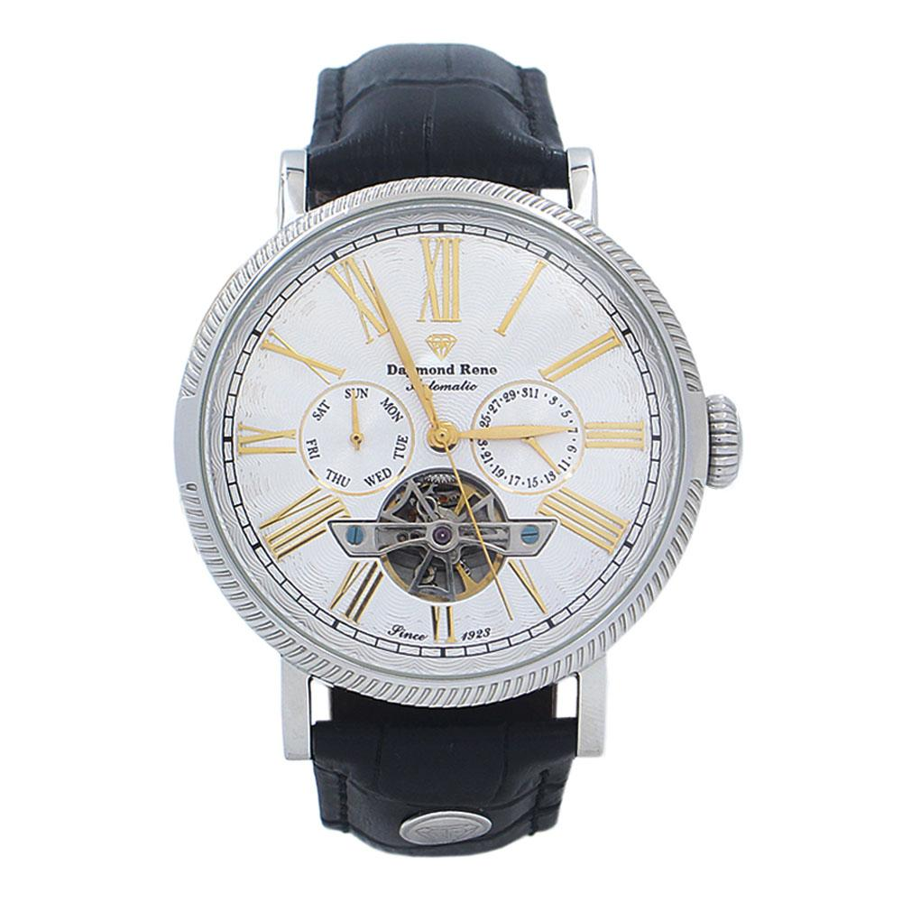 Black Silver Leather Automatic Watch