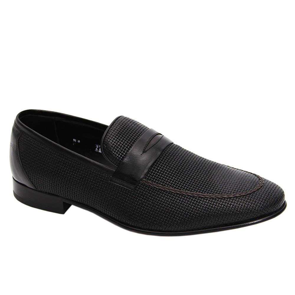 Black Albertine Woven Styled Italian Leather Loafers