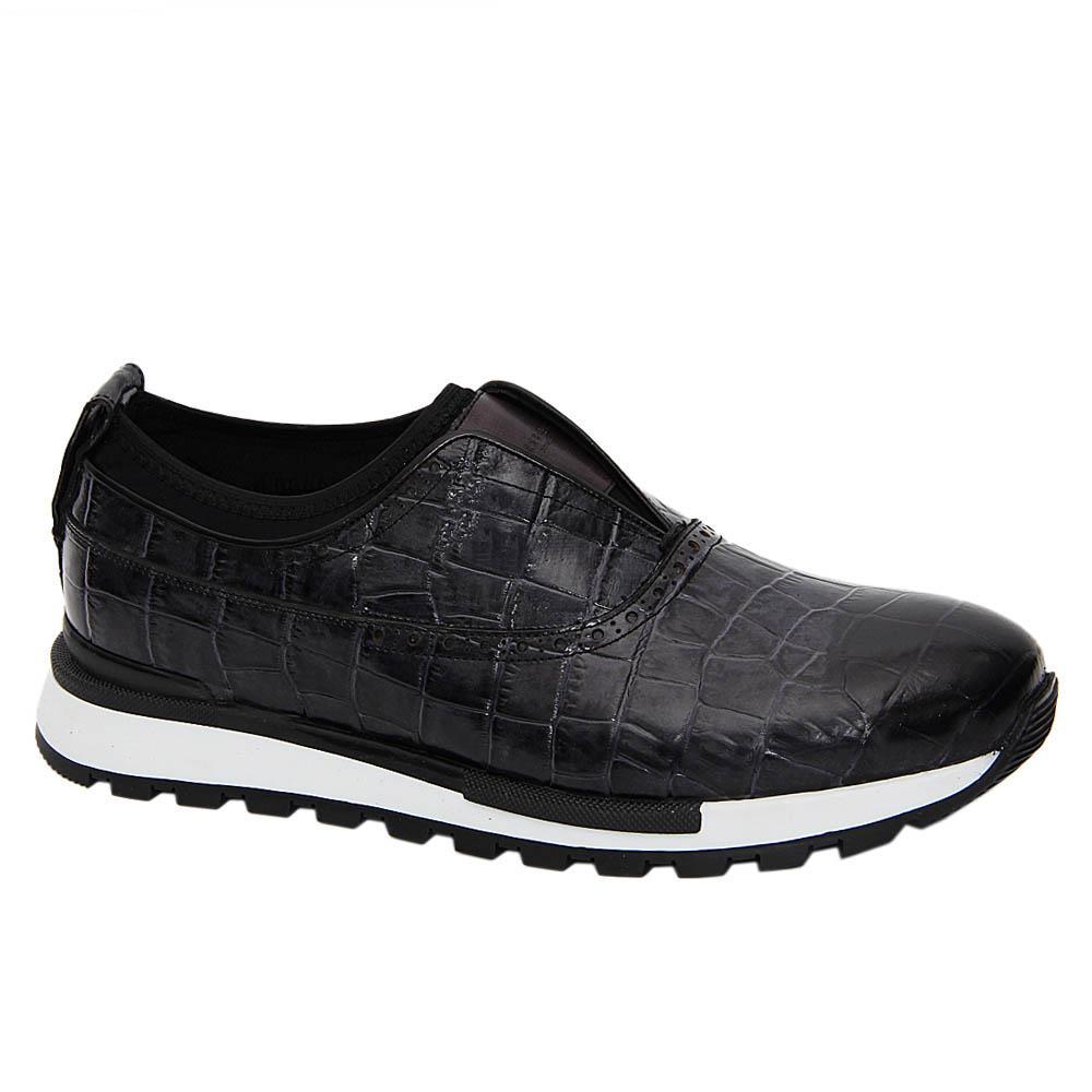 Gray Larry Scott Italian Leather Slip On-Sneakers