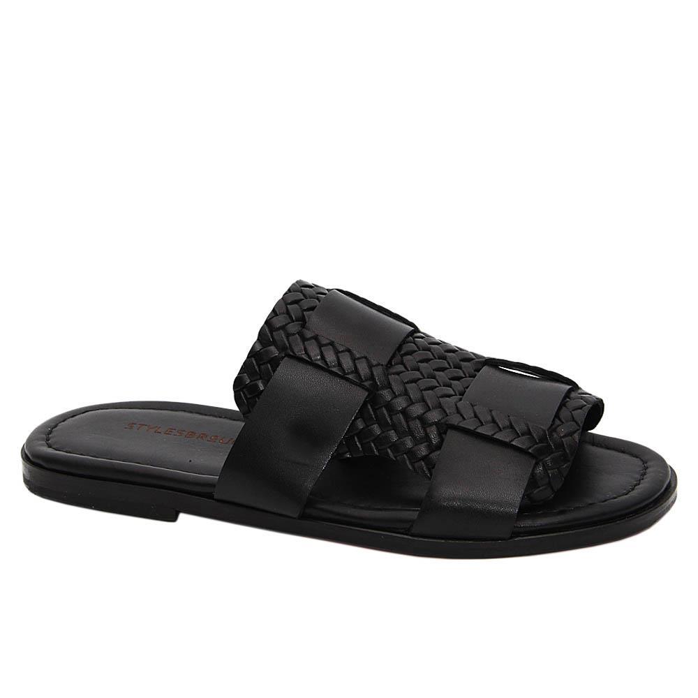 Black Caruso Italian Leather Slippers