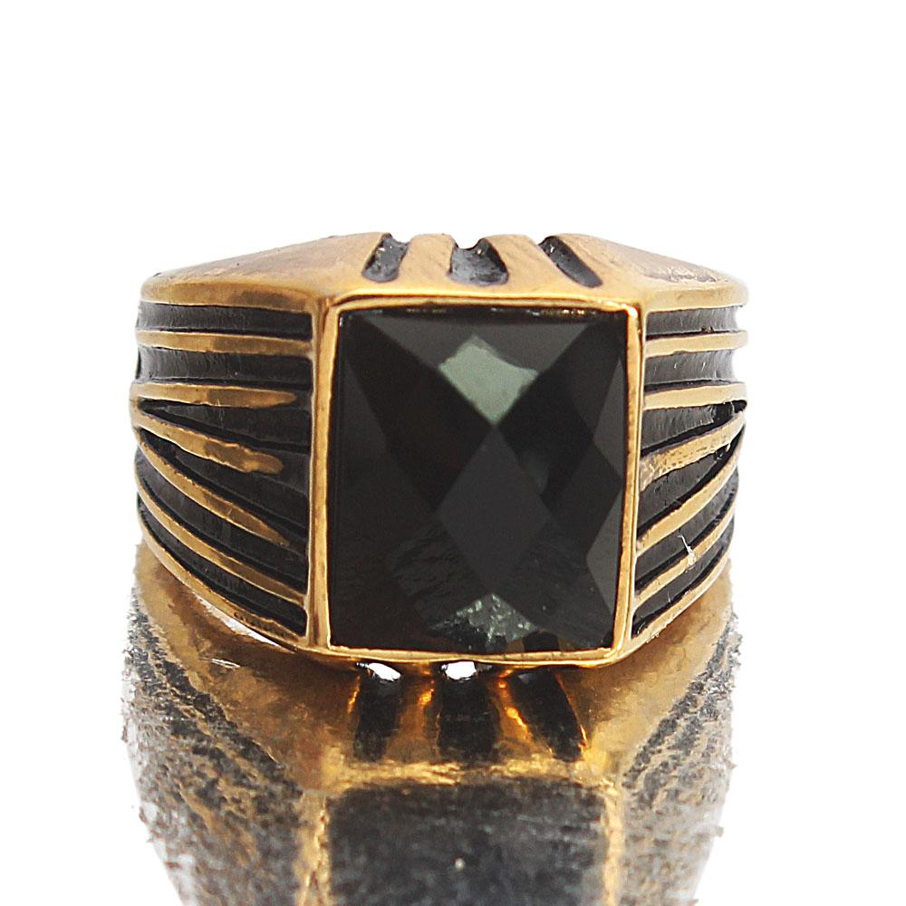 Gold Steel Black Classic Ring Sz S