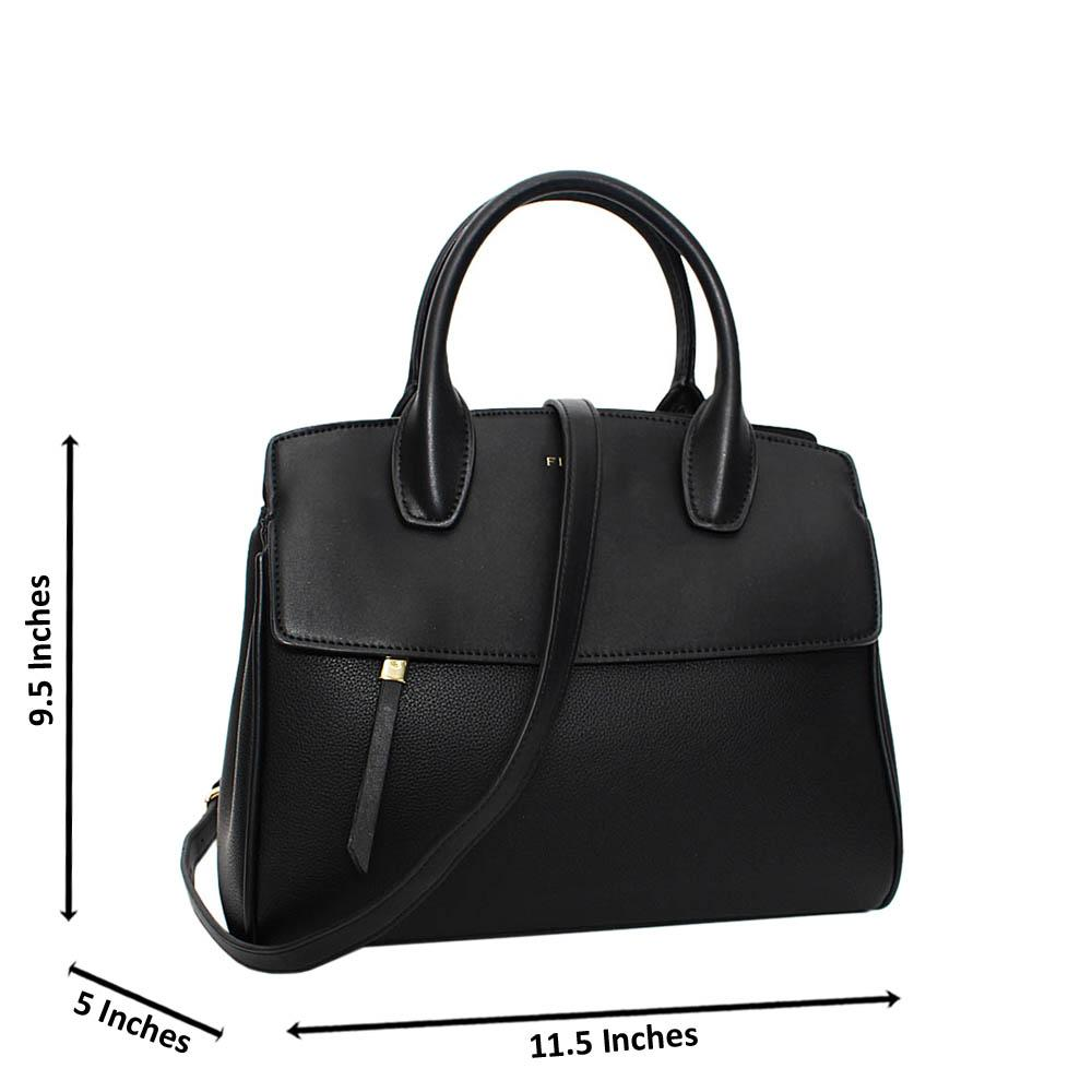 Black Kayla Mix Leather Tote Handbag