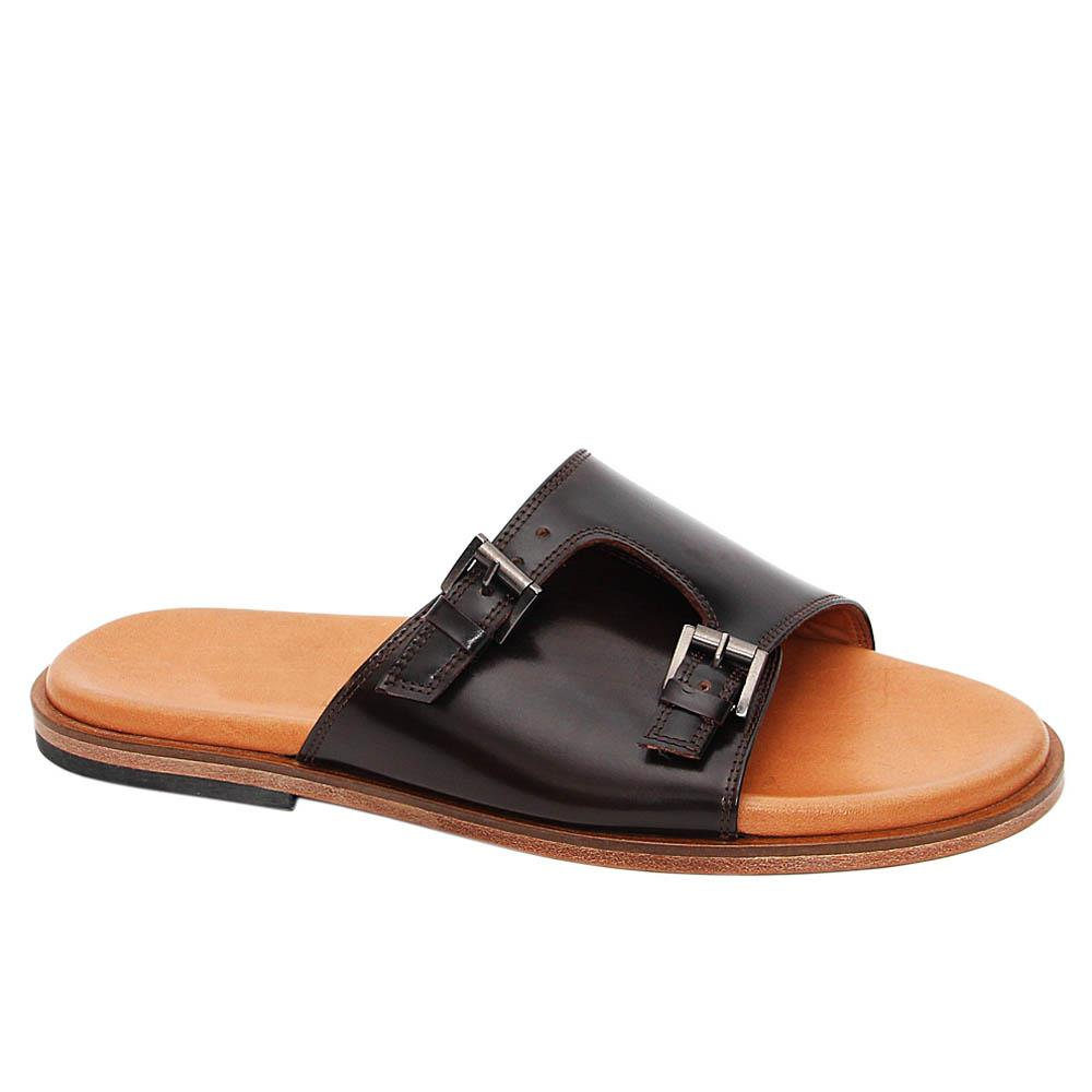Coffee Arnold Italian Leather Buckle Slippers