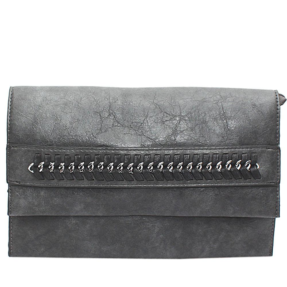 Gray Chain Design Leather Flat Purse