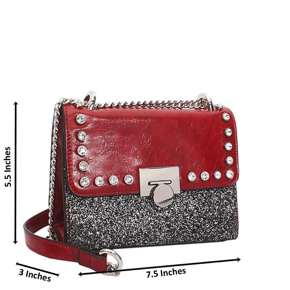 Red Ice Glitz Leather Chain Crossbody Handbag