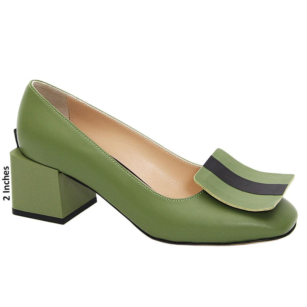 Green Riley Tuscany Leather Mid Heel Pumps