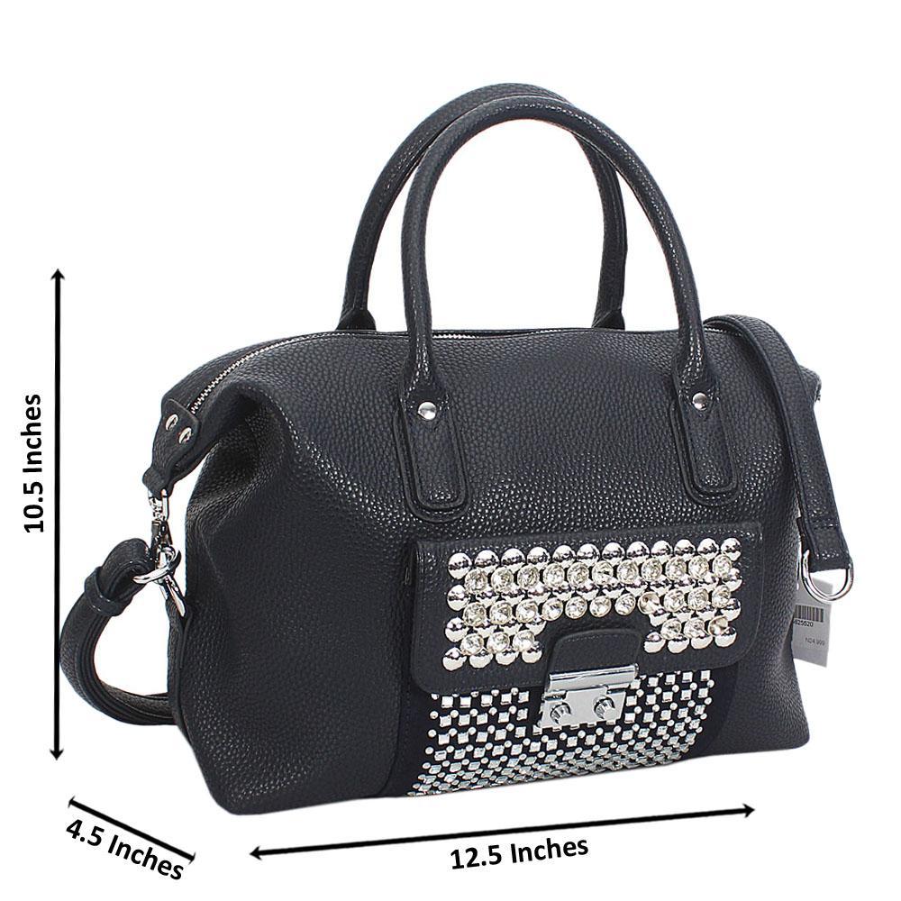 Black Megan Studded Leather Tote Handbag