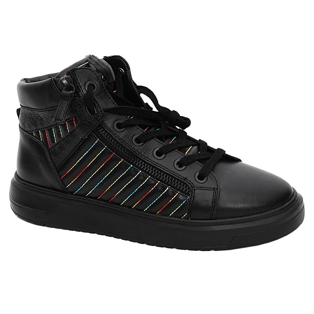 K Geiger Black Brentley Leather Ankle Sneakers