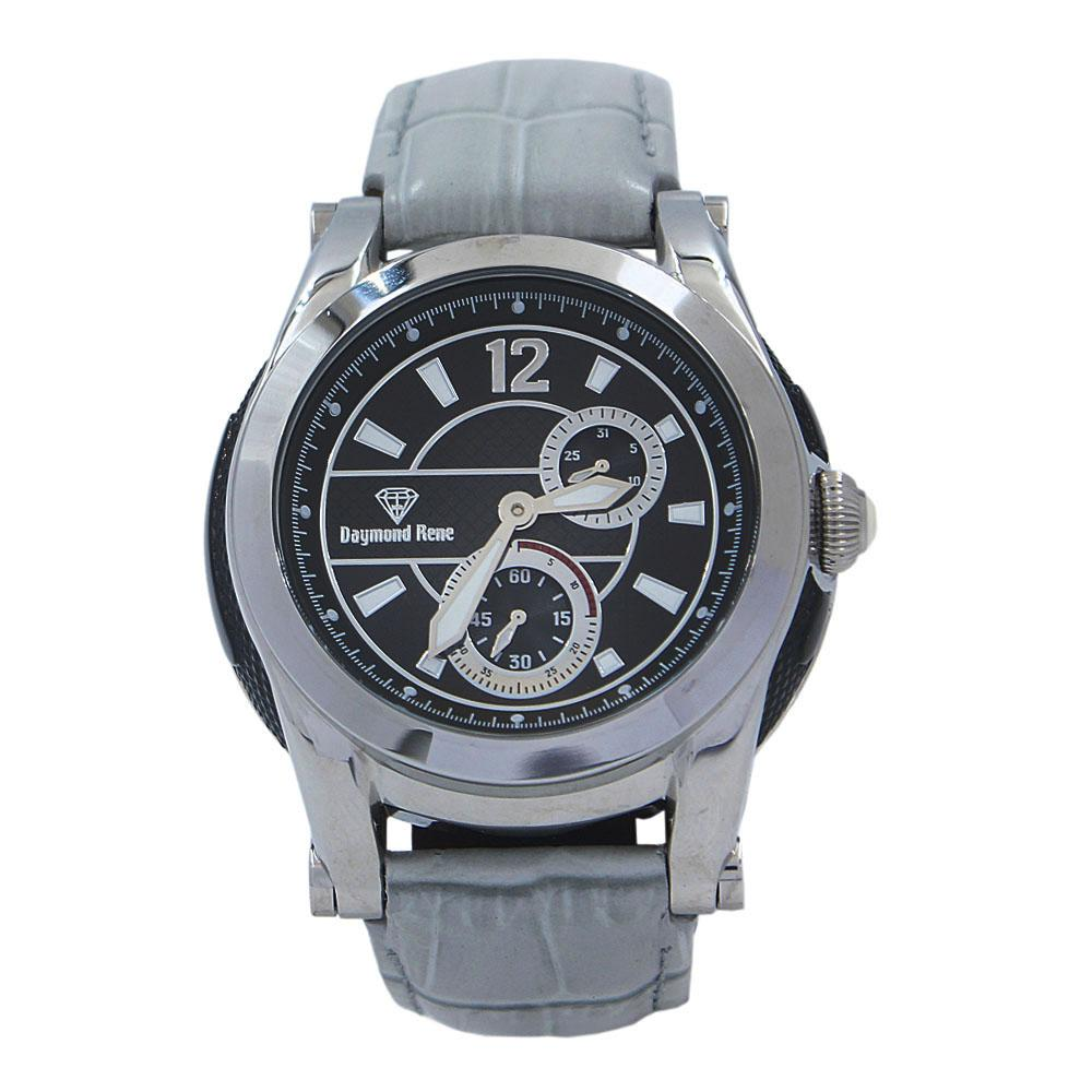 Cloud Gray Silver Leather Chronograph Watch