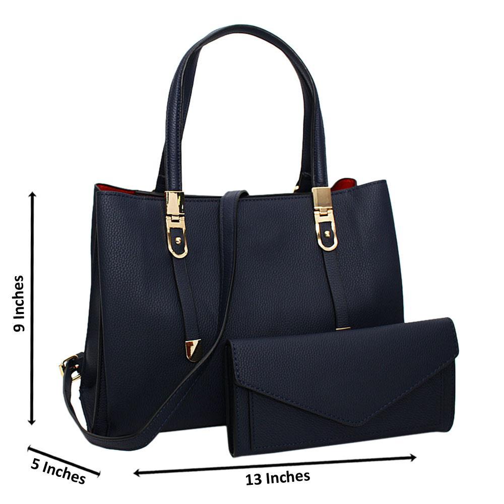 Navy Scarlett Leather Medium Tote Handbag