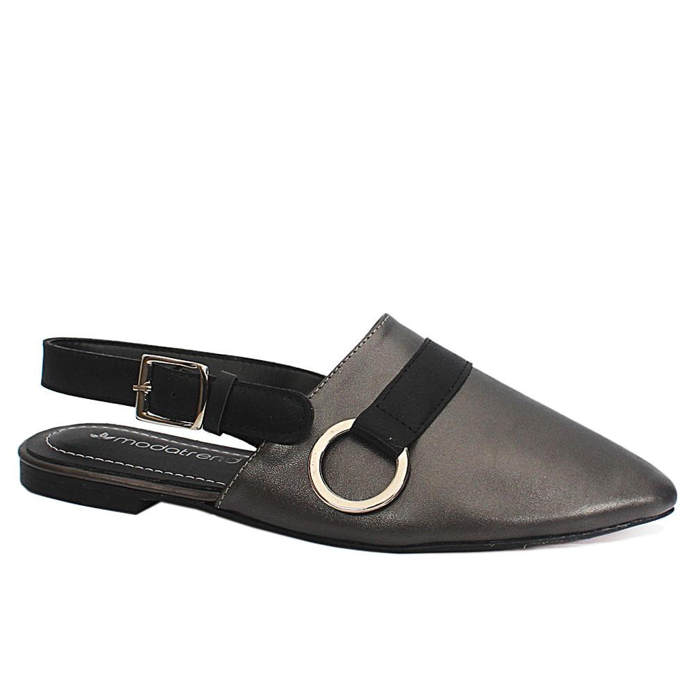 Dark Gray Pointed Leather Ladies Flat Shoe