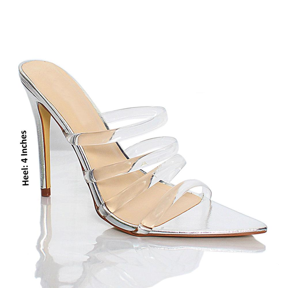 Silver AM Diane Rubber Top Leather High Heel Mule