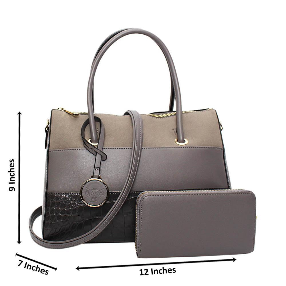 Gray Morgan Leather Medium Tote Handbag