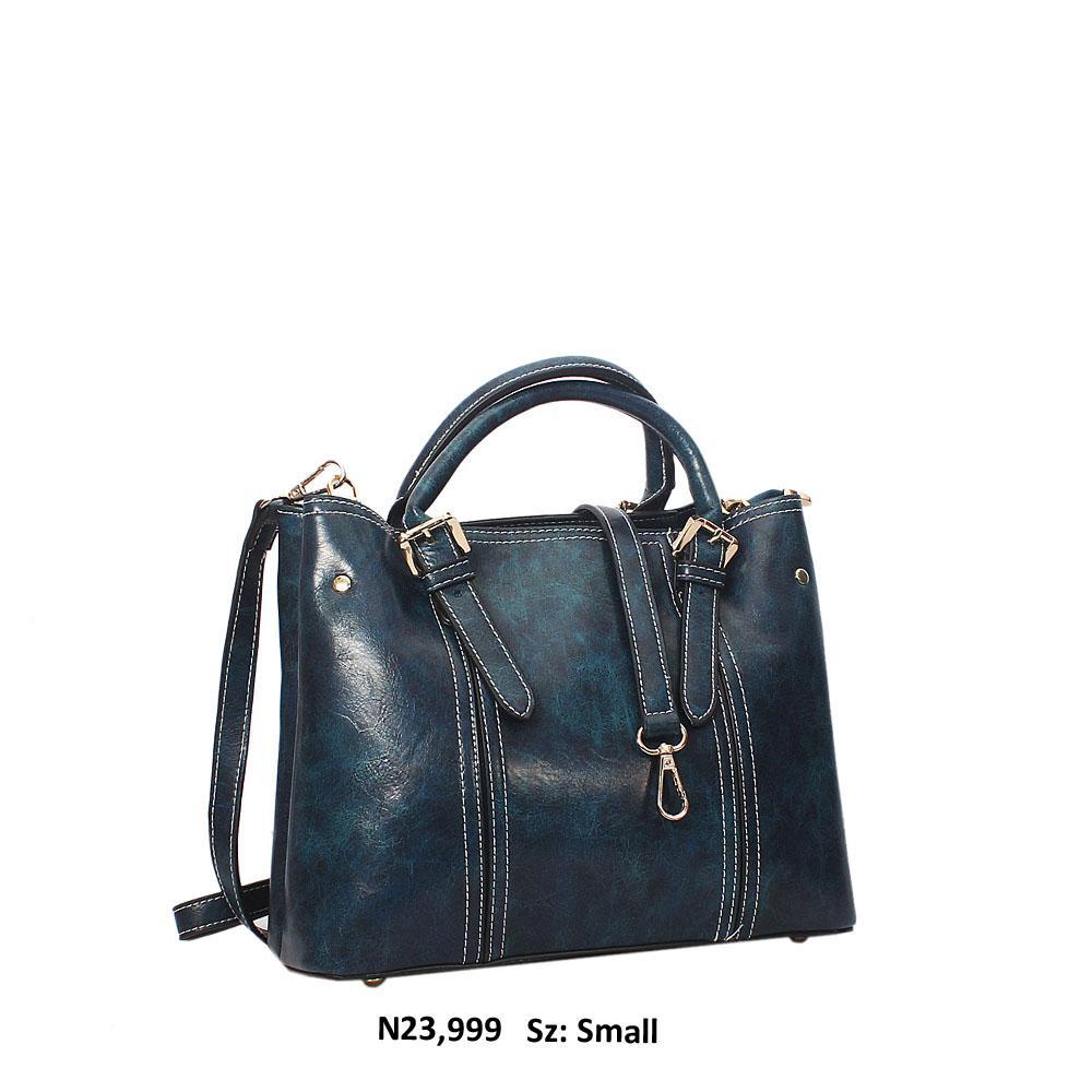 Dark Blue Gabriela Leather Tote Handbag