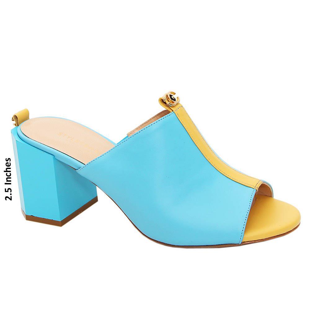 Blue Camilla Tuscany Leather High Heel Mule